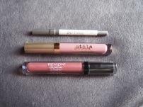 Urban Decay 24/7 Glide-On Lip Pencil in Ultimate Ozone, Stila Stay All Day Liquid Lipstick in Baci, Revlon Colorstay Ultimate Liquid Lipstick in Iconic Iris